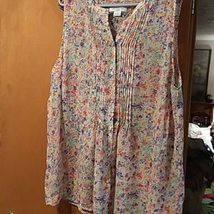 Plus Liz Claiborne sheer colorful abstract floral